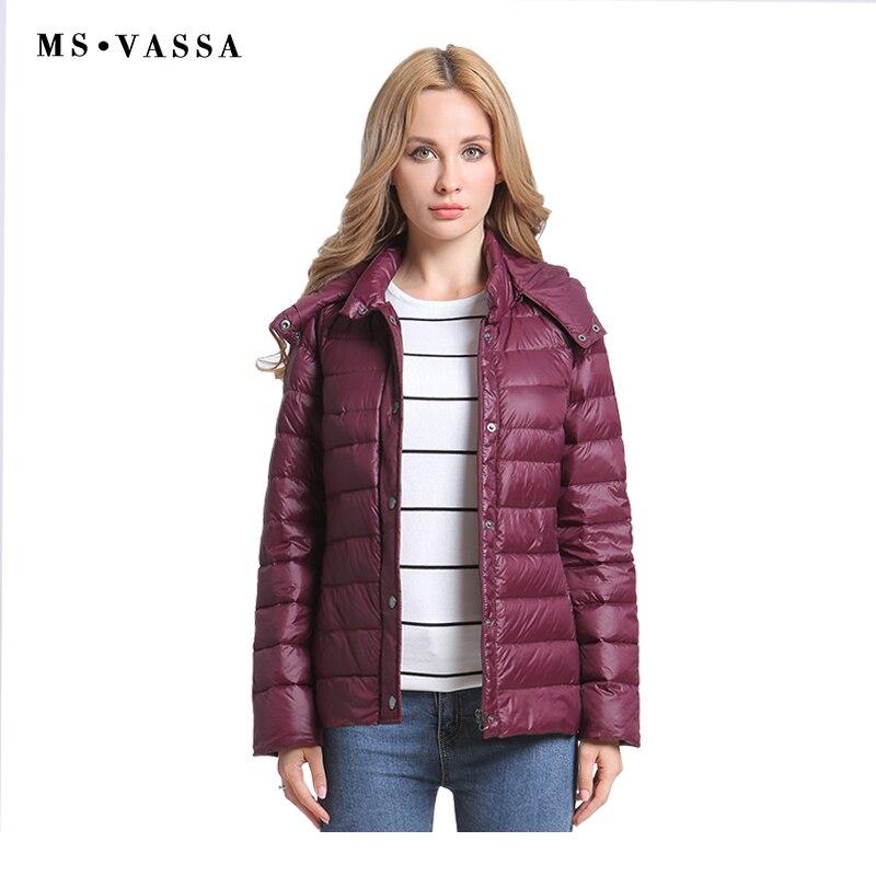MS VASSA Women Down Jacket Long Sleeve Removed Coat 2018 Autumn New Light Down Vest Winter