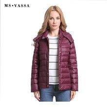 MS VASSA Women Down Jacket Long Sleeve Removed Coat 2018 Autumn New Light Vest Winter Ladies Inner Wear Hooded Waistcoat