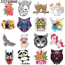 ZOTOONE Clothing DIY clothes sticker cartoon flamingo gecko t-shirt jacket applique heat transfer vinyl camera patch hot press D