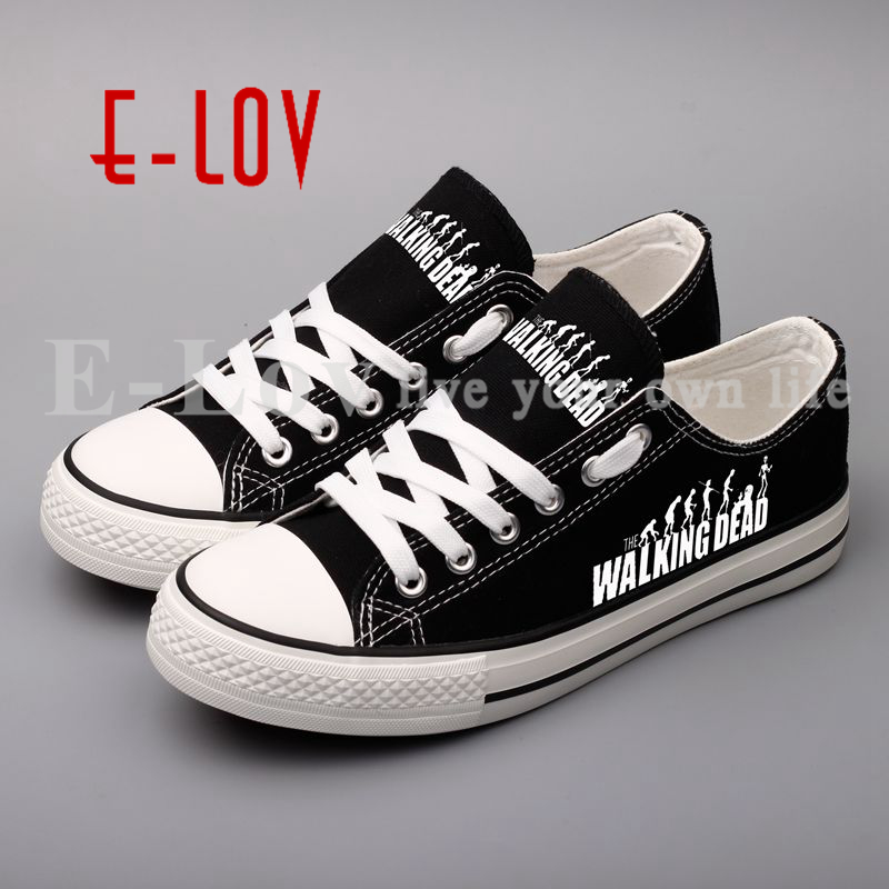 Personality Printed The Walking Dead Canvas Shoes Zombie World Movie DIY Graffiti Hip Hop Woman Girls Shoes For Valentine Gifts the walking dead инстинкт выживания