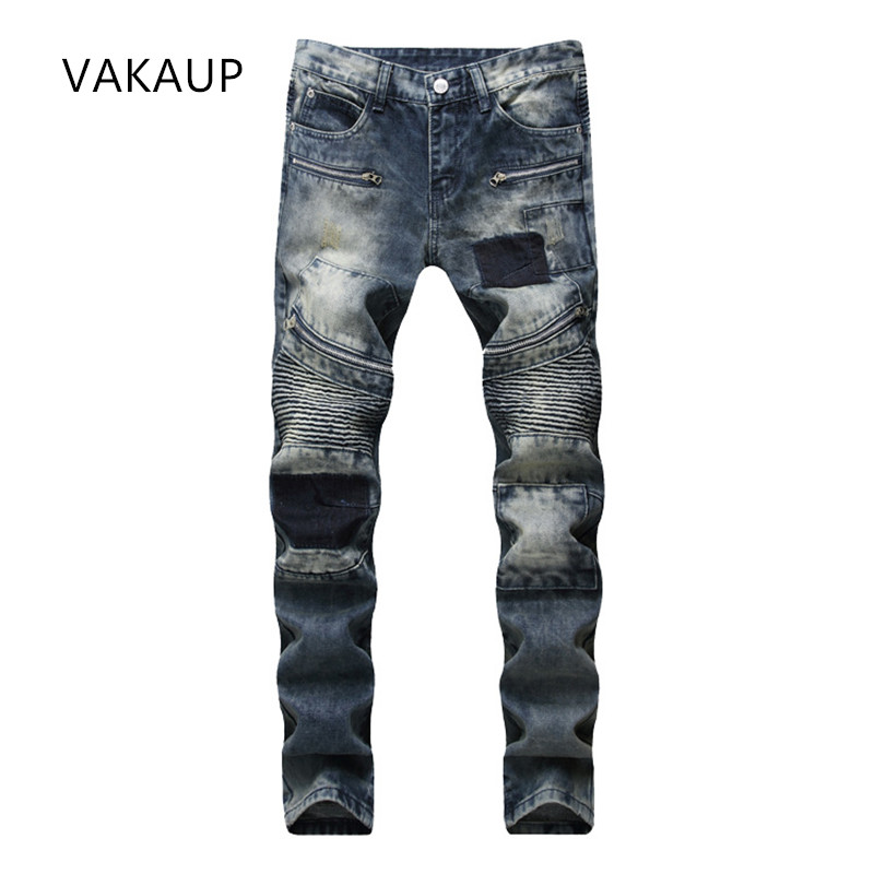 Mens Straight Ripped Jeans Homme Style fashion big jeans luxury Meth casual denim Pant trousers Hole Slim skinny jeans Pants men