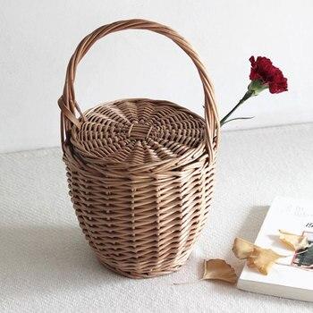 LJT Hand Gewebt Frauen Eimer Tasche Weibliche Warenkorb Picknick Natürliche Material Rattan-korbtasche Große Kapazität Strand Taschen Bolsa