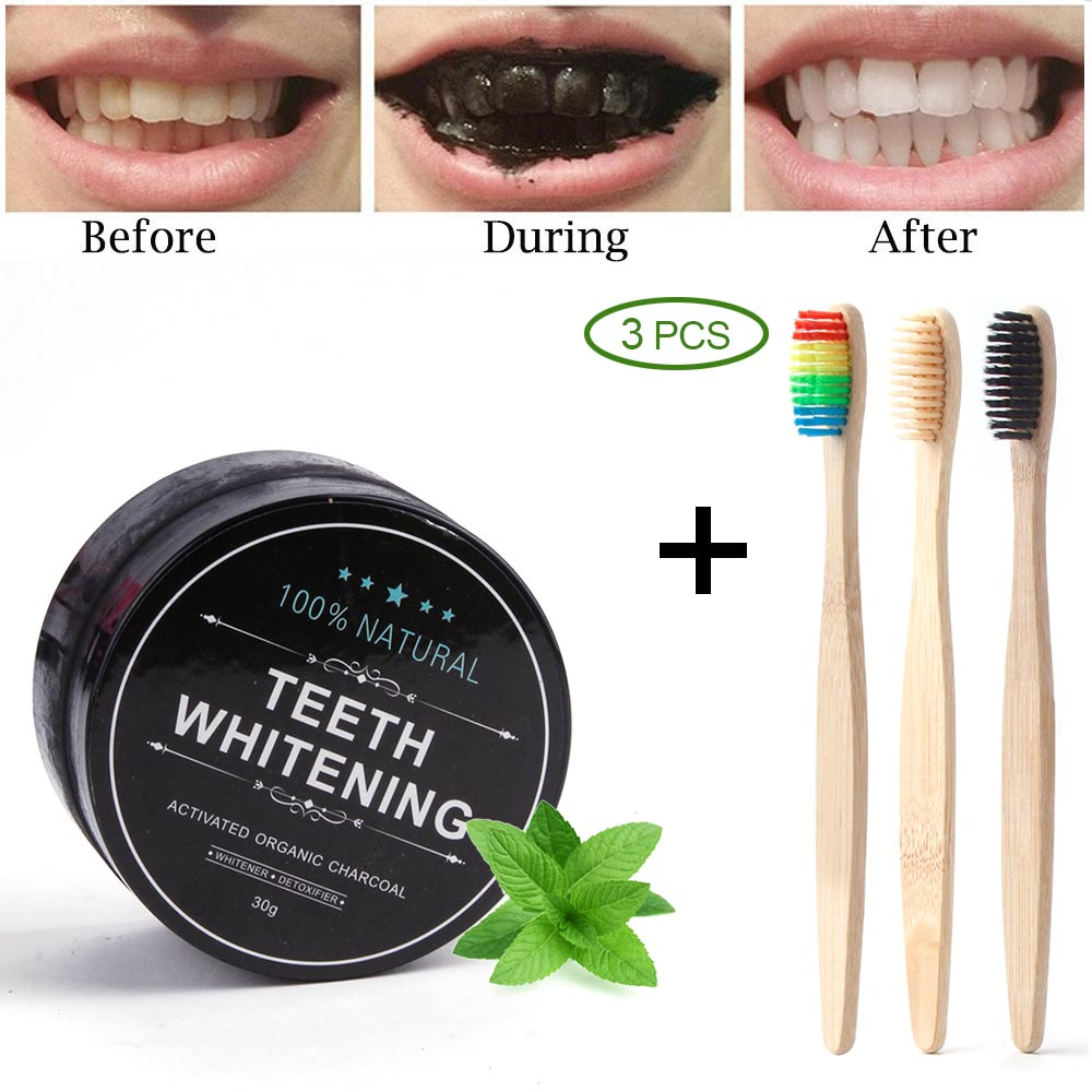 30g Charcoal Teeth Whitening Powder + 3Pcs Bamboo Toothbrush Dental Charcoal Wder Teeth Whitener Wooden Toothbrush Oral Care