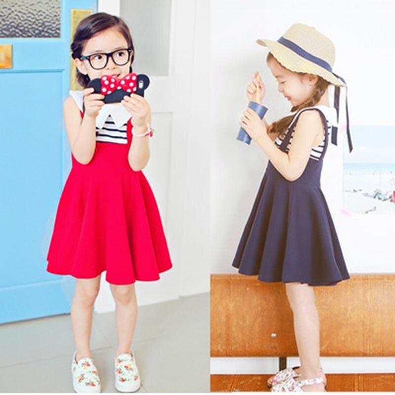 2016 Girl dress lovely Kids clothing baby girl frocks children clothes Princess Stripe Dresses for girls Toddler false two
