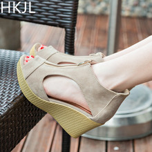HKJL 2019 Fashion Women Wedge Sandals Summer Casual Shoes Woman Platform Wedges Vintage High Heels Zippers A073