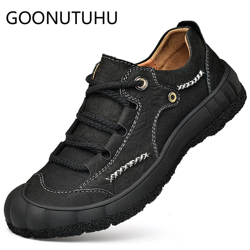 2019 style men 39 s shoes casual genuine leather sneakers male big size 38 48 lace up shoe man flats cowhide shoes for men hot sale in Men 39 s Casual Shoes from Shoes