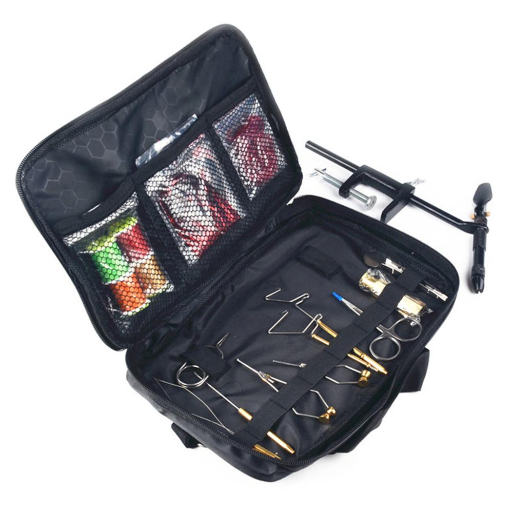 1 Set Fly Fishing Tying Tools Kit In Skin Imitated Bag Including Vise Bobbin Holder Whip