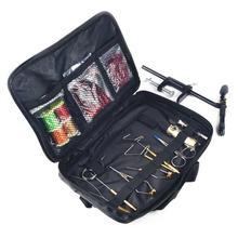 1 Набор для ловли нахлыстом, набор инструментов для завязывания в коже, имитированный мешок, включая тиски, держатель катушки, хлыст, отделочник, инструмент для наполовину сцепки