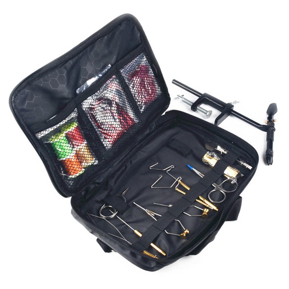 1 Kit d'outils de fixation de pêche à la mouche dans un sac imité par la peau, y compris un support de canette d'étau, un finisseur de fouet, un demi-outil d'attelage