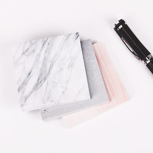 1 unidad (Unid 75 hojas) el Color del bloc de notas de mármol autoadhesivo Bloc de notas adhesivas marcapáginas suministro de oficina escolar
