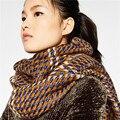 2016 Nueva Za Mujeres Bufanda de Invierno Nuevo Diseñador de Oro de Punto Bufandas de Acrílico Unisex Wrap Chales de Pashmina Bufanda De Cachemira Básica Grande