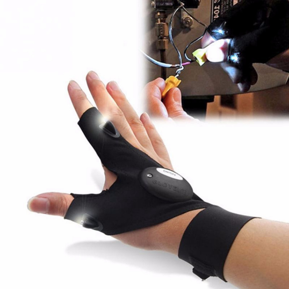 1 stücke Auto Fahrrad Reifen Reparatur werkzeug Nacht Angeln Handschuh mit <font><b>LED</b></font> Licht Rettungs Werkzeuge Outdoor Getriebe Magic Strap Fingerlose handschuh 2019 image