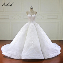 Eslieb Elegant Ball Gown Wedding Dress 2018 Sweetheart Royal Train Lace Pengantin Gowns Dubai Arabic Vestido De Noiva
