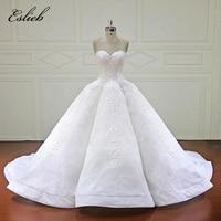 Eslieb Elegant Ball Gown Wedding Dress 2018 Sweetheart Royal Train Lace Bridal Gowns Dubai Arabic Vestido