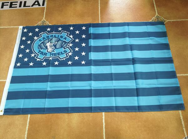 North Carolina Tar Heels Flag stars and stripes 3×5 ft two grommets