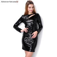 A Forever Fairness 2018 Autumn Dress For Women O Neck Hollow Long Sleeve Sexy Slim Dress Black Sequined Party Dressess AFF2010