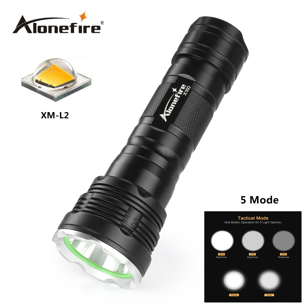 Alonefire X160 CREE XM-L2 U3 LED High power lighting Aluminum flashlight torch Lantern Zaklamp 18650 26650 Rechargeable battery
