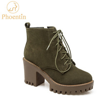 Phoentin platform ankle boots for women new round toe high heel 8cm lace up Martin boots army green zip open women's shoes FT173