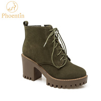 Phoentin Platform Ankle Boots For Women New Round Toe High Heel 8cm Lace Up Martin Boots