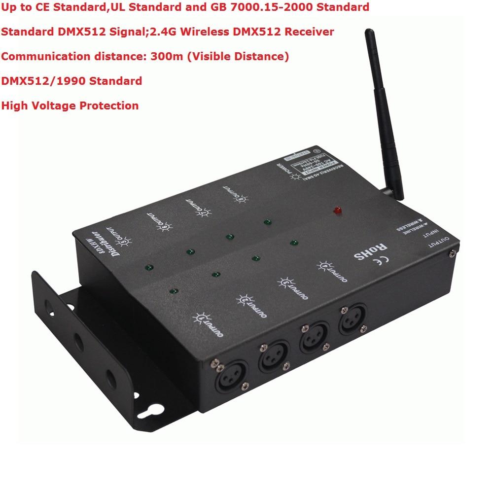 Fedex Shipping Wireless DMX Eight-Way DMX Splitter DMX512 Light Stage Lights Signal Amplifier Splitter 8 Way DMX Distributor