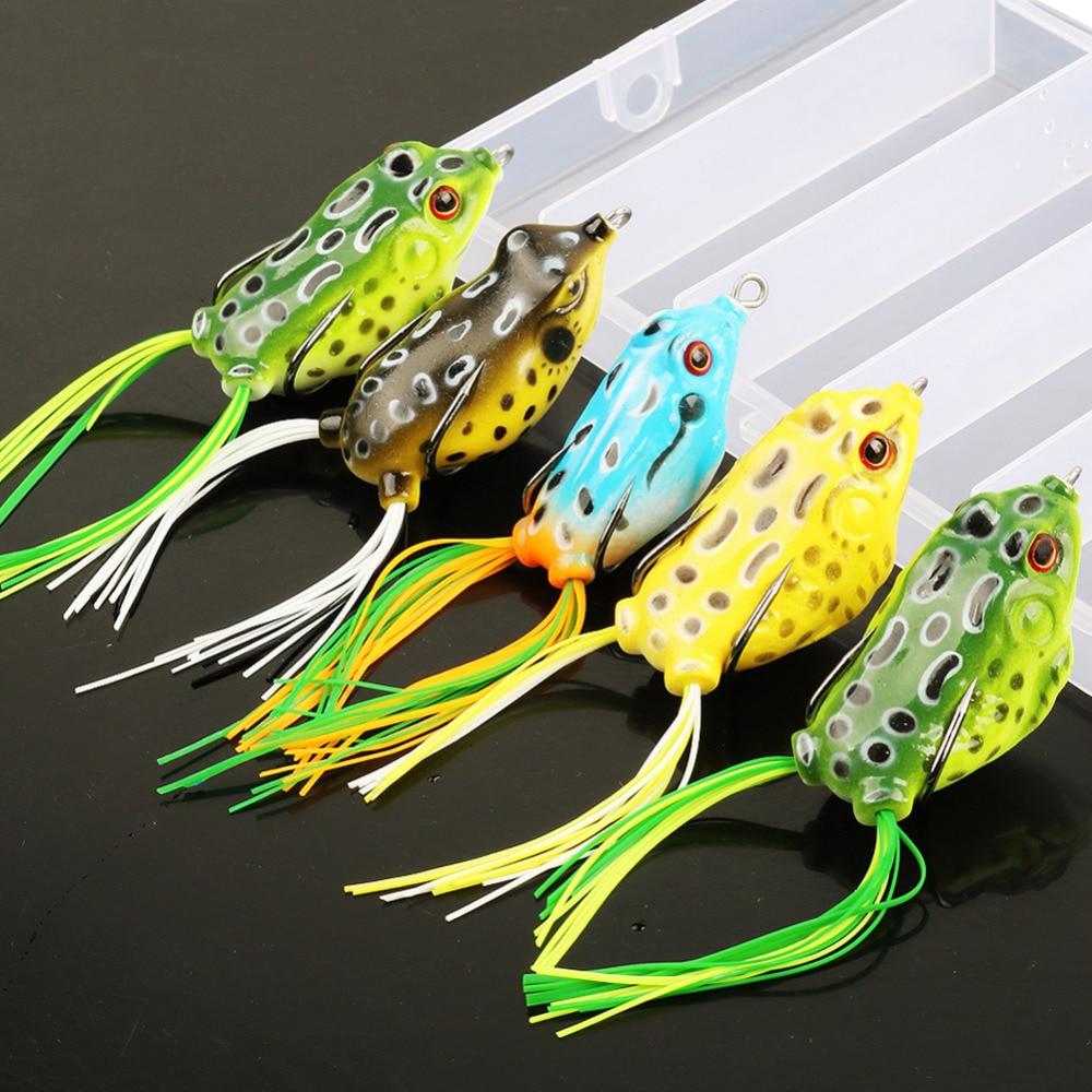 все цены на Sougayilang 5pcs/lot Frog Lure with Box 9-13g 4 Colors Soft Fishing Lure 10cm Plastic Topwater Simulation Frog Artificial Baits онлайн