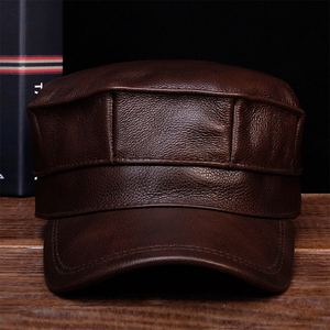 Image 1 - HL059  Mens genuine leather baseball cap hat brand new spring real leather adult solid adjustable army hats/caps
