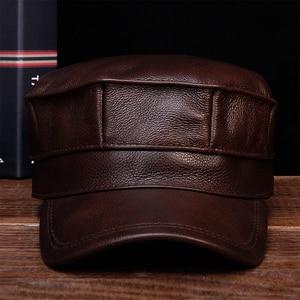 Image 1 - HL059 الرجال قبعة بيسبول جلدية حقيقية قبعة العلامة التجارية الجديدة الربيع الجلد الحقيقي الكبار الصلبة قابل للتعديل الجيش القبعات/قبعات