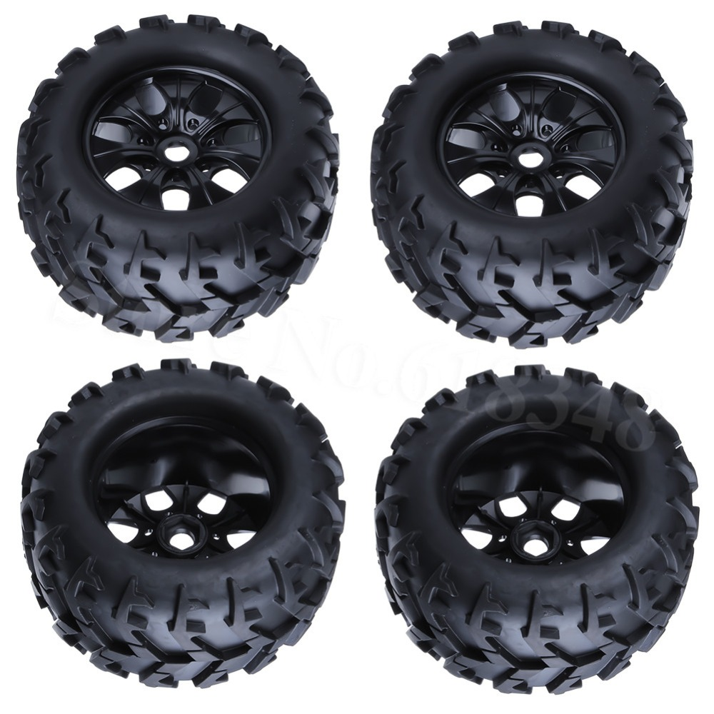 Truck Wheels And Tires >> 4x 3 2 Rc 1 8 Monster Truck Wheels Tires Complete 150mm 80mm Hex