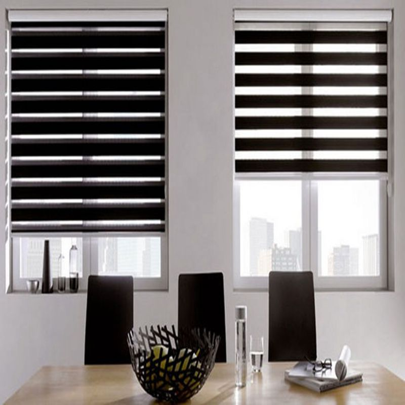zebra blinds horizontal window shade blind dual roller blinds window custom cut to size black. Black Bedroom Furniture Sets. Home Design Ideas