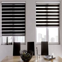 Zebra Blinds Horizontal Window Shade Blind Dual Roller Blinds Window Custom Cut to Size Black Curtains for Living Room