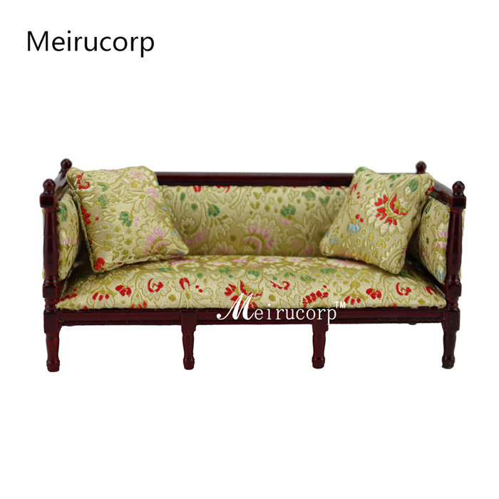 1/12 Scale Dollshouse Miniature Furniture Wooden High-quality Classical Sofa