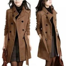2017 New Women Trench Wool Coat Winter Slim Double Breasted Overcoat Winter Coats Women Long Outerwear for Women Winter Coat