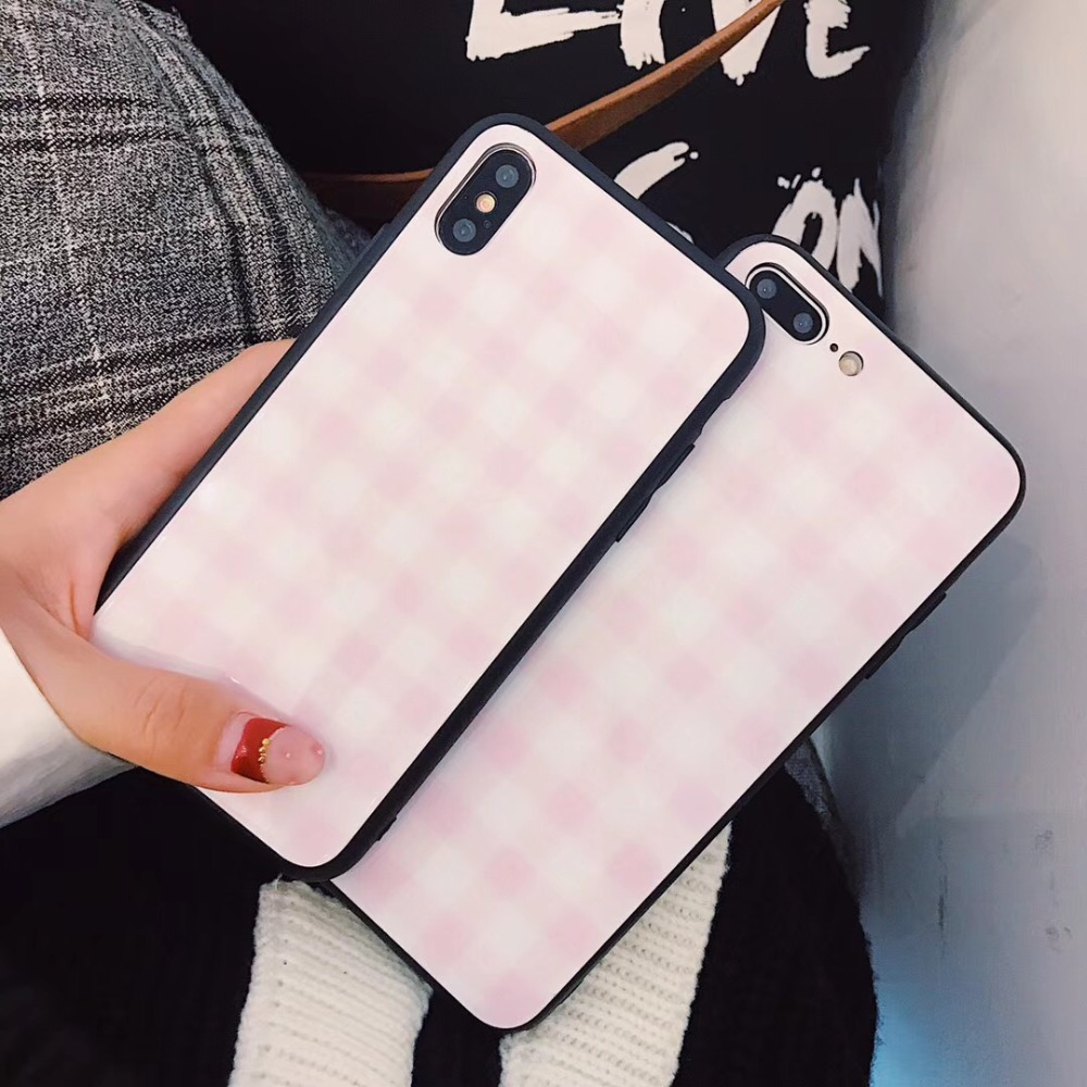 Cell Phone Case Cover for iPhone 6 6s 7 8 X Tempered Pink Lattice Glass Hard Back Cute Phone Case for iPhone 7 8 6 6s Plus Case