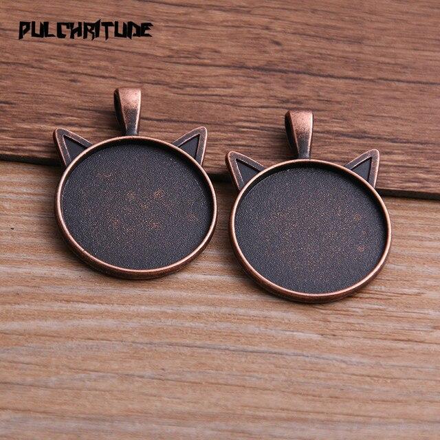 PULCHRITUDE 6 pièces 25mm taille intérieure classique 6 couleurs plaqué chat Style Cabochon Base réglage pendentif à breloques