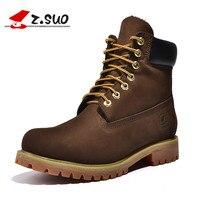 Z. Suo גברים מגפי, השכבה הראשונה של עור פרה מגפיים בצינור, מגפי גברים אופנה מזדמנים. botas hombre zs10061
