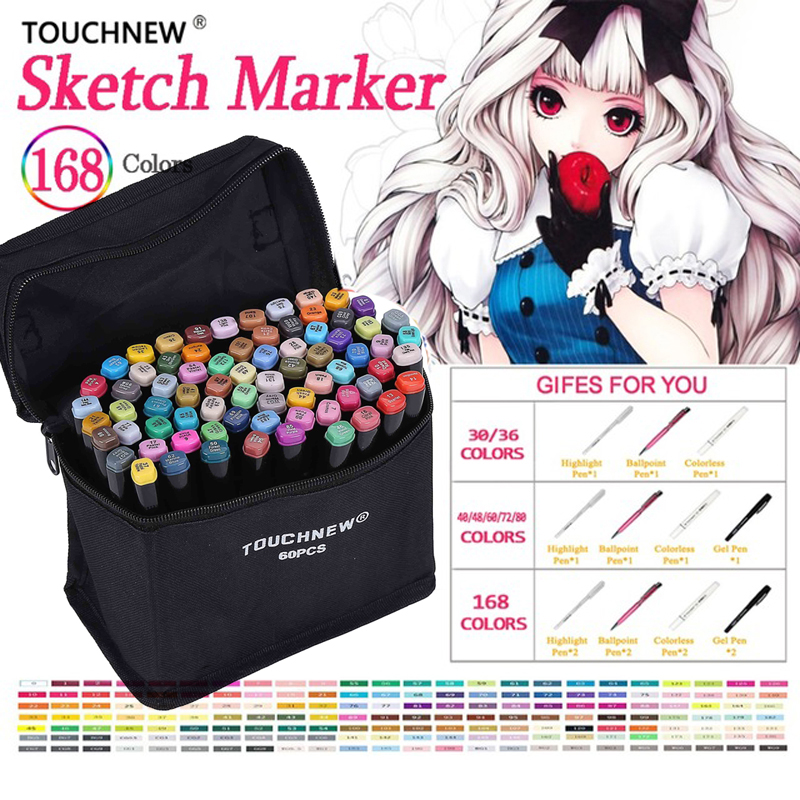 Touchnew painting oily pen 30/40/60/80 color drawing markers anime stationery colorful Waterproof pen manga brush penTouchnew painting oily pen 30/40/60/80 color drawing markers anime stationery colorful Waterproof pen manga brush pen