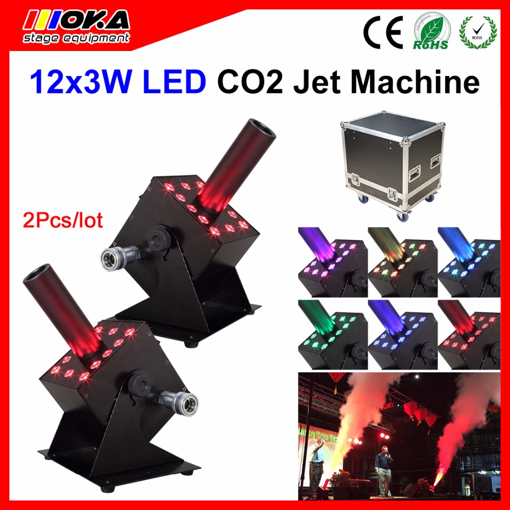 2 Pcs/Lot Easy Angel DMX 512 RGB Stage Effect LED CO2 cannon jet blaster Smoke Machine 6M hose jet With Flight Case
