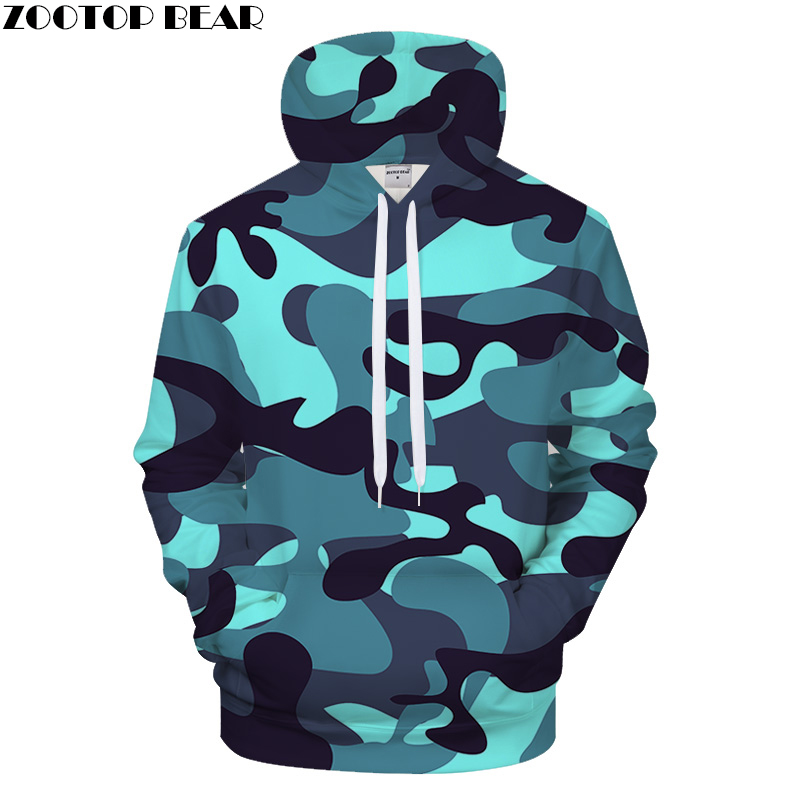 Shine Blue Camo 3DPrint Hoodies Men Women 2018 Sweatshirt Casual Tracksuit Jacket Hoodie Pullover Streatwear Dropship ZOOTOPBEAR