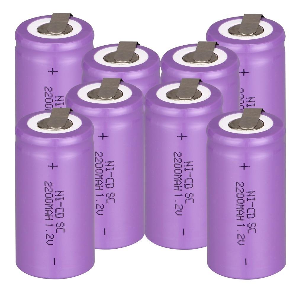 Anmas Power Purple 2~20Pcs Rechargeable Battery Sub C SC 1.2V 2200mAh Ni-CD Battery & Tap