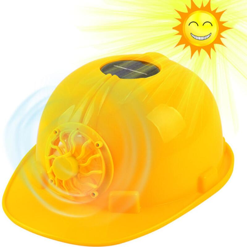 Yellow Solar Power Safety Helmet Outdoors Working Hard Hat Solar Panel Cooling Fan Construction Workplace Protective Cap stylish baseball hat cap with solar powered cooling fan yellow