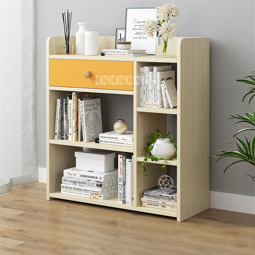 D4417 Modern Simple Bookshelf Multifunctional Bedroom Wooden Bookcase Creative Economical Multi-Layer Book Cabinet With Drawer