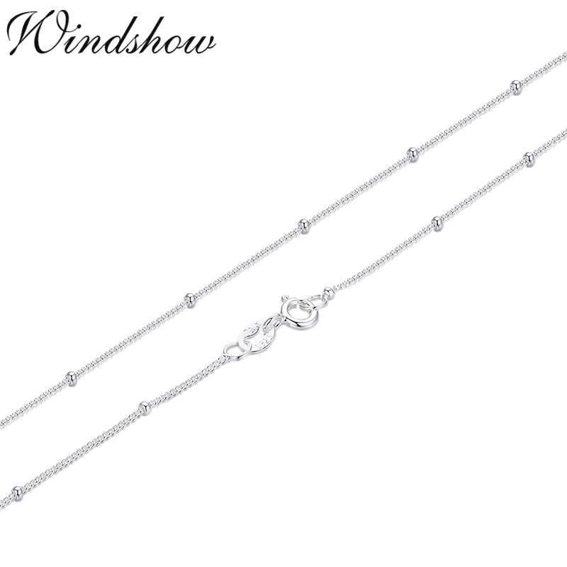 35-80 ซม.บาง PURE 925 Sterling Silver ลูกปัด Curb CHAIN Choker สร้อยคอผู้หญิงเครื่องประดับ kolye collares collier ketting