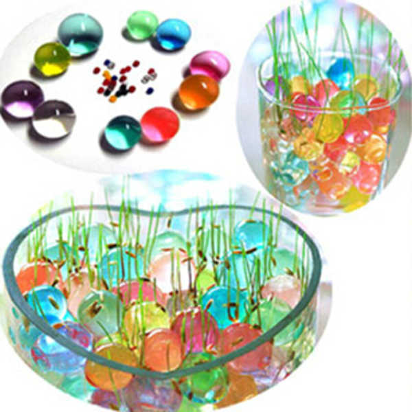 100 Pz Perla A Forma di Terreno di Cristallo Acqua Perline Fango Grow Magia Jelly Balls Home Decor Aqua Soil Commerci All'ingrosso Idrogel