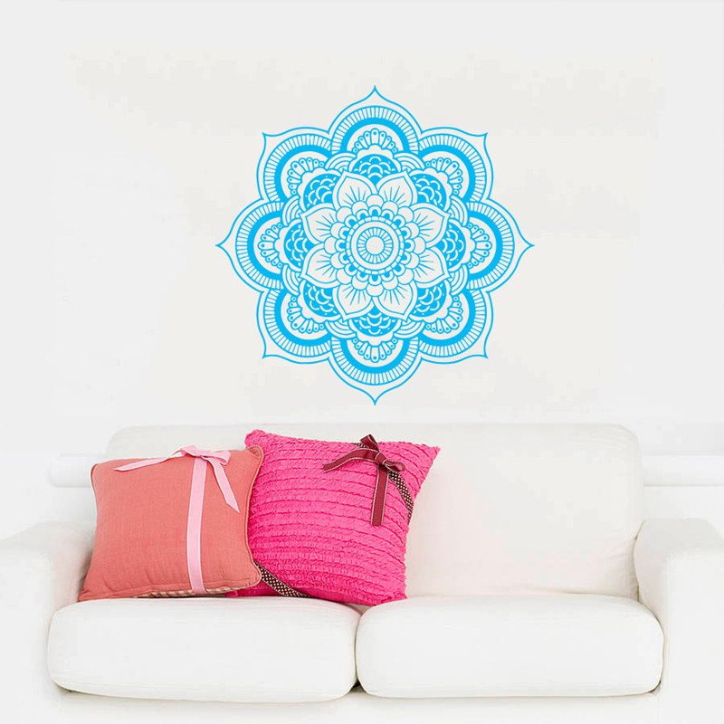 Bohe Mandala Flower Wall Paper Decor Yoga Studio Vinyl: Mandala Menhdi Flower Pattern Wall Decal Ornament Om