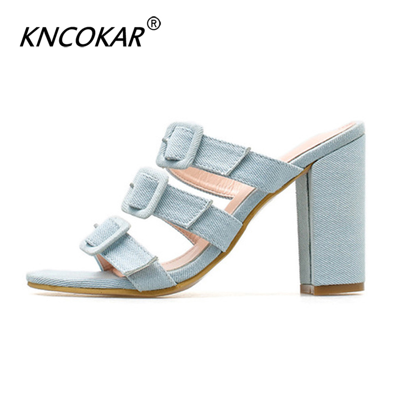 KNCOKAR 2019 Summer New Fish Mouth Floral Simple Word Buckle With Fashion Thick High Heel Slippers Casual Sandals And SlippersKNCOKAR 2019 Summer New Fish Mouth Floral Simple Word Buckle With Fashion Thick High Heel Slippers Casual Sandals And Slippers