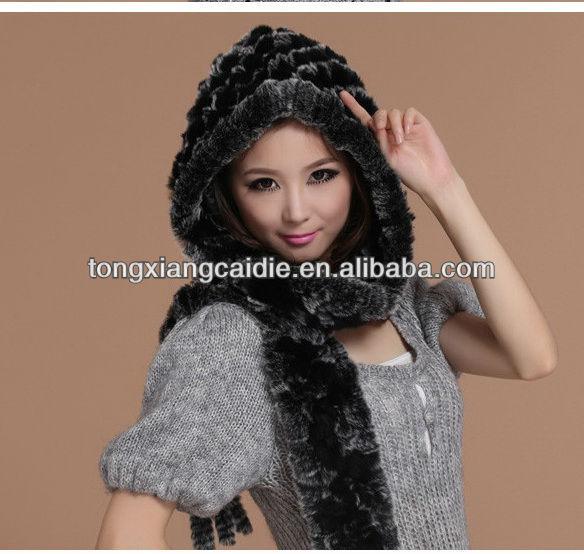 CDH070 envío de La Gota Al Por Mayor de moda caliente de punto Rex sombrero de piel de conejo con la bufanda con borla en viento y nieve en invierno de las mujeres
