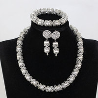 Simple African Beaded Fashion Jewelry Set Silver Accessory Costume Jewellery Set 2018 Chunky Necklace Set WE236