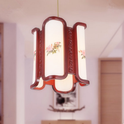 New Chinese style handmade red wood art Pendant Lights White acryl lampshade E27 LED lamp for corridor&stairs&bar&pavilion MF035