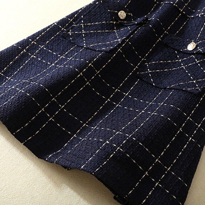 Automne 2018 ligne Plaid Costume Tweed Robe Chart Manches Longues See Sans Pièce Bleu Hiver Femmes A Veste 2 Nouveau À Ensemble Mode Élégante Tq7xFWUv