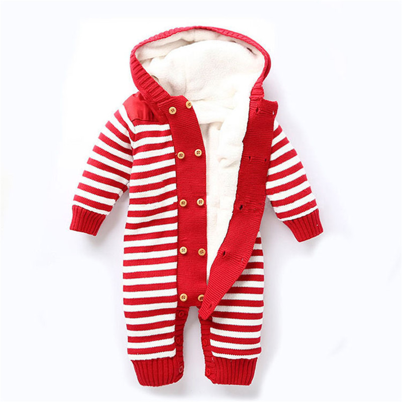 Newborn Baby Knitted Sweater Jumpsuit Overalls Autumn/Winter Thicken Warm Hooded Rompers Toddler Boys Girls Outerwear Coat(China)
